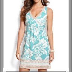 tommy Bahamas Women L Mini dress floral white blue